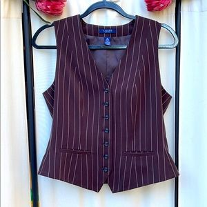 VINTAGE- 90'S CHAPS BROWN PINSTRIPE FITTED VEST M